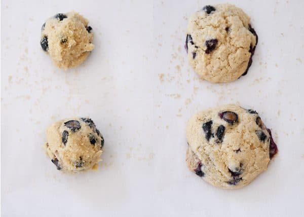 Side by side of unbaked and then baked blueberry muffin cookies.