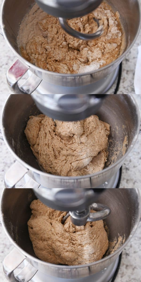 whole wheat bread dough mixing in the bowl of a KitchenAid