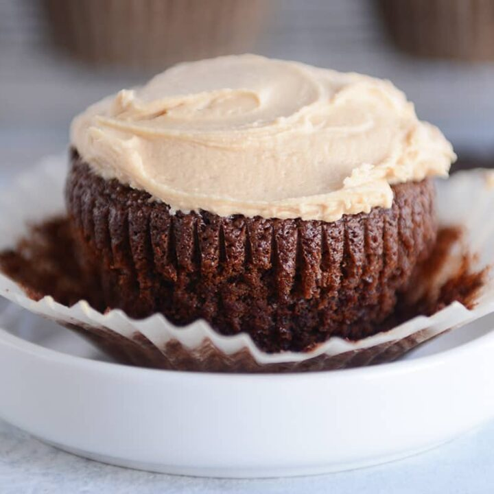 Fudgy Brownie Cupcakes with The Best Peanut Butter Frosting