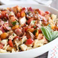 Bruschetta Chicken and Bacon Pasta
