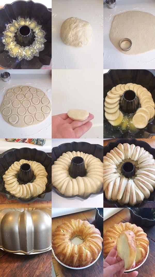 Step by step putting together bundt bread.