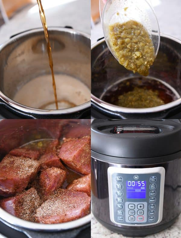 Step by step copycat sweet pork being added to pressure cooker with root beer and salsa.