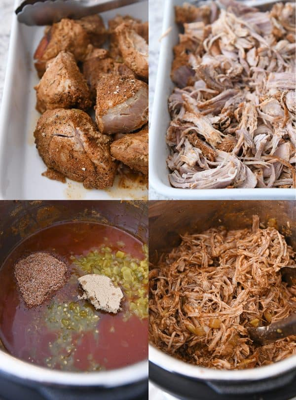 Step by step copycat sweet pork being shredded and added back to pressure cooker with seasonings.