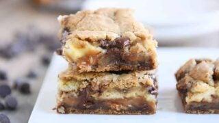 Caramel Cheesecake Stuffed Chocolate Chip Cookie Bars