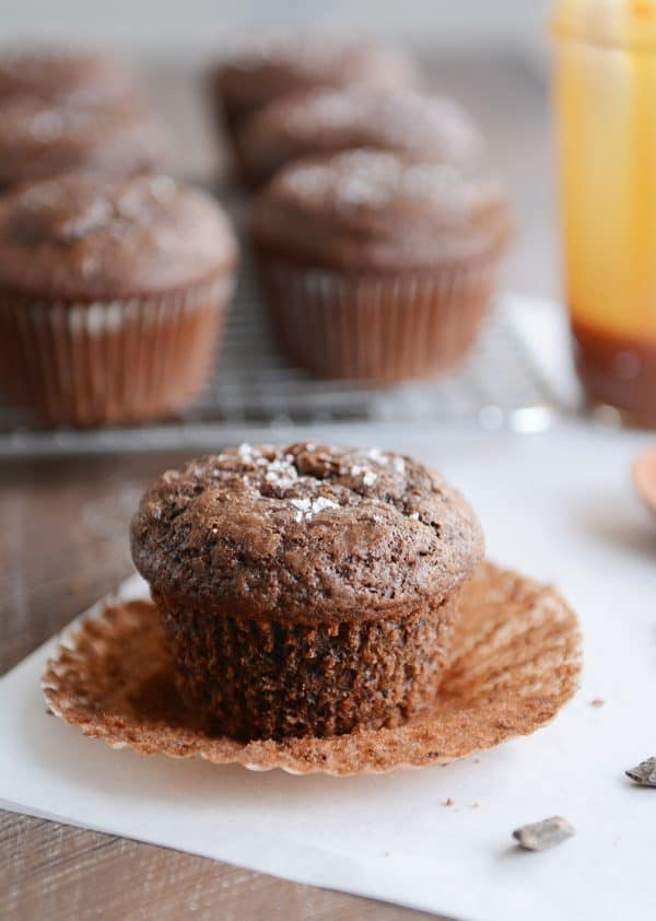 Double chocolate salted caramel muffin with paper liner removed.