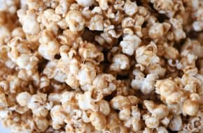 Closeup of soft and chewy caramel popcorn.