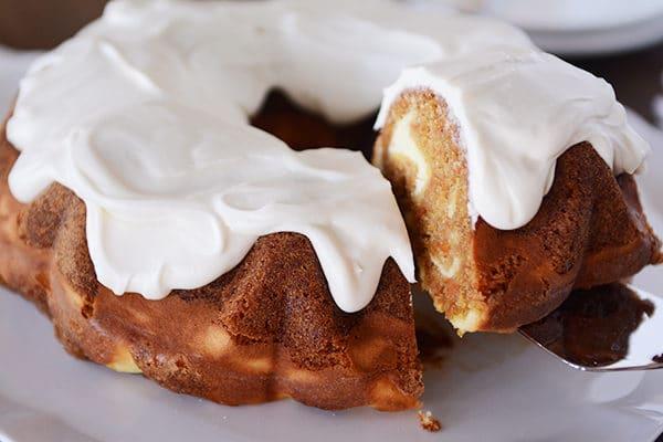Carrot Cake Cream Cheese Swirl Bundt Cake