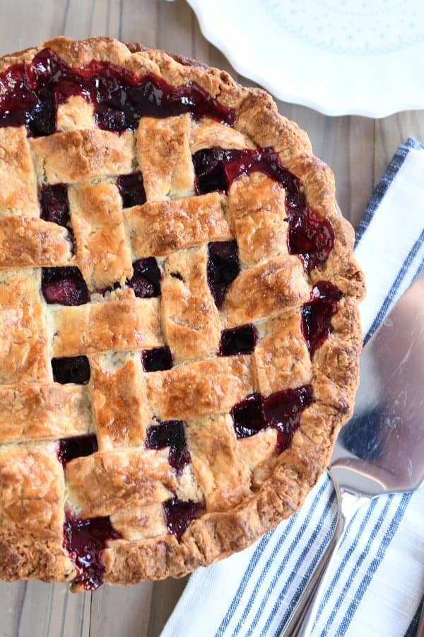 Baked cherry pie with golden lattice crust.