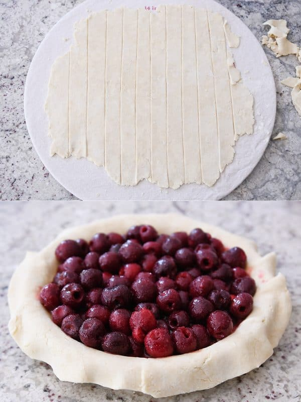 Cherry pie filling going in pie with lattice pie crust strips ready.