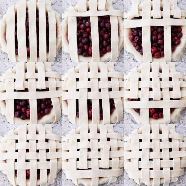 Step-by-step lattice pie crust for cherry pie.