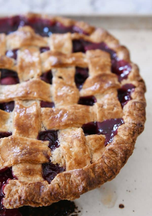 Baked cherry pie.