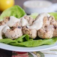 Grilled Lemon Chicken Skewers with Yogurt-Hummus Sauce
