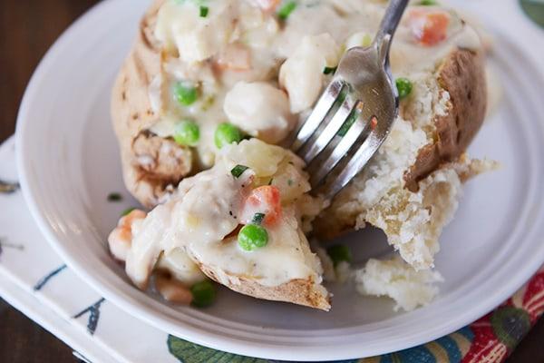 Chicken Pot Pie Baked Potato