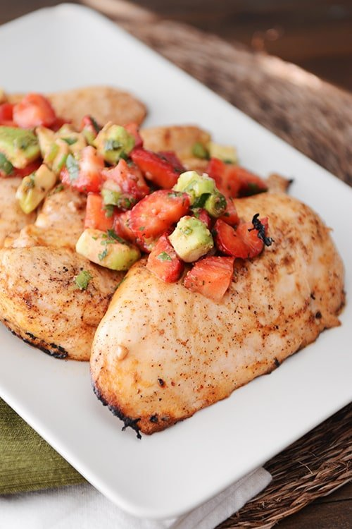 Grilled Chili Lime Chicken with Strawberry  Avocado Salsa