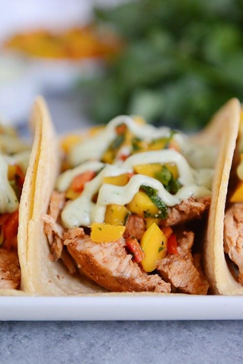 Chili Lime Tacos with Mango Salsa