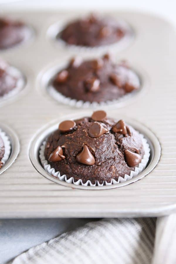 Double chocolate banana blender muffin in metal tin.