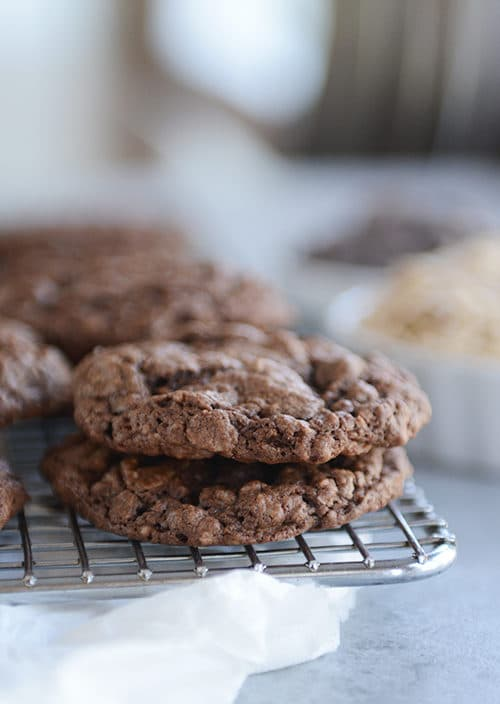 Chocolate cookies stacked on each other.