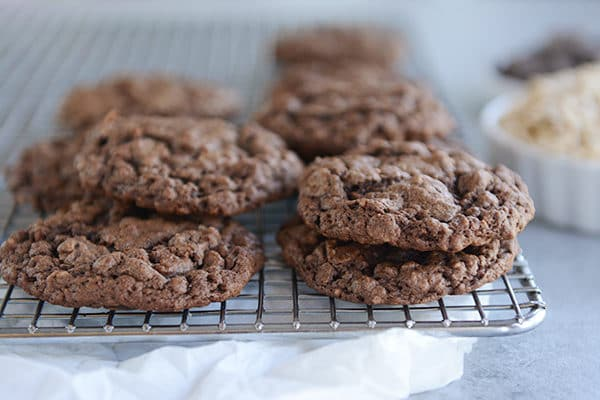 Double Chocolate Oatmeal Chocolate Chip Cookies