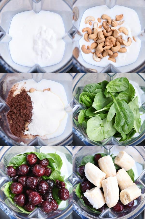 Step by step look at ingredients going into blender for chocolate protein smoothie.