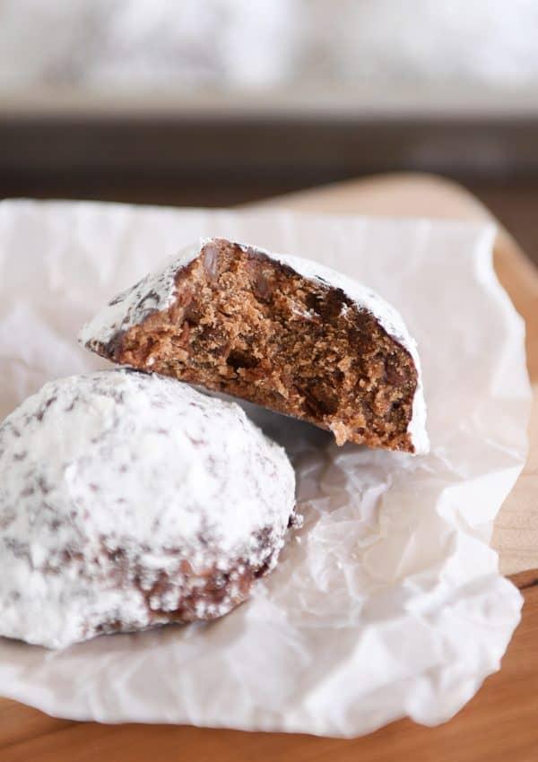 Chocolate truffle cookie broken in half.