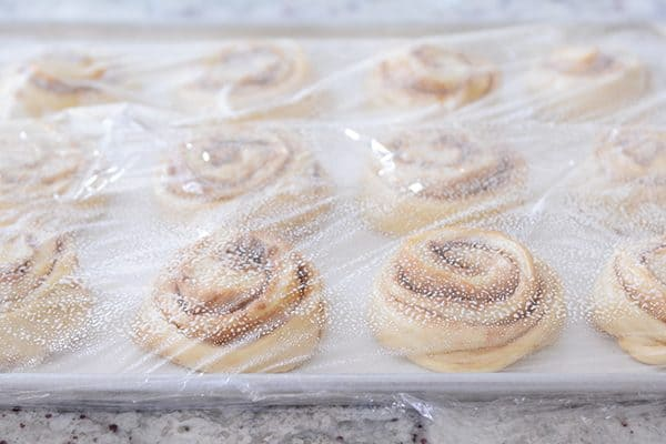 Saran wrap covered pan of uncooked cinnamon rolls.