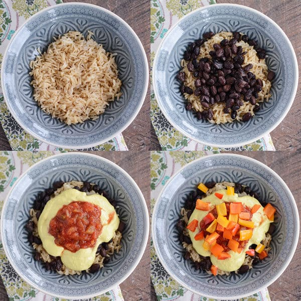 Four bowls showing toppings going into rice filled bowls.
