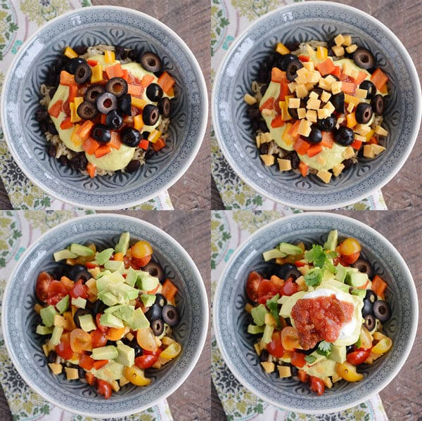 Four bowls showing toppings going step-by-step into the bowls.