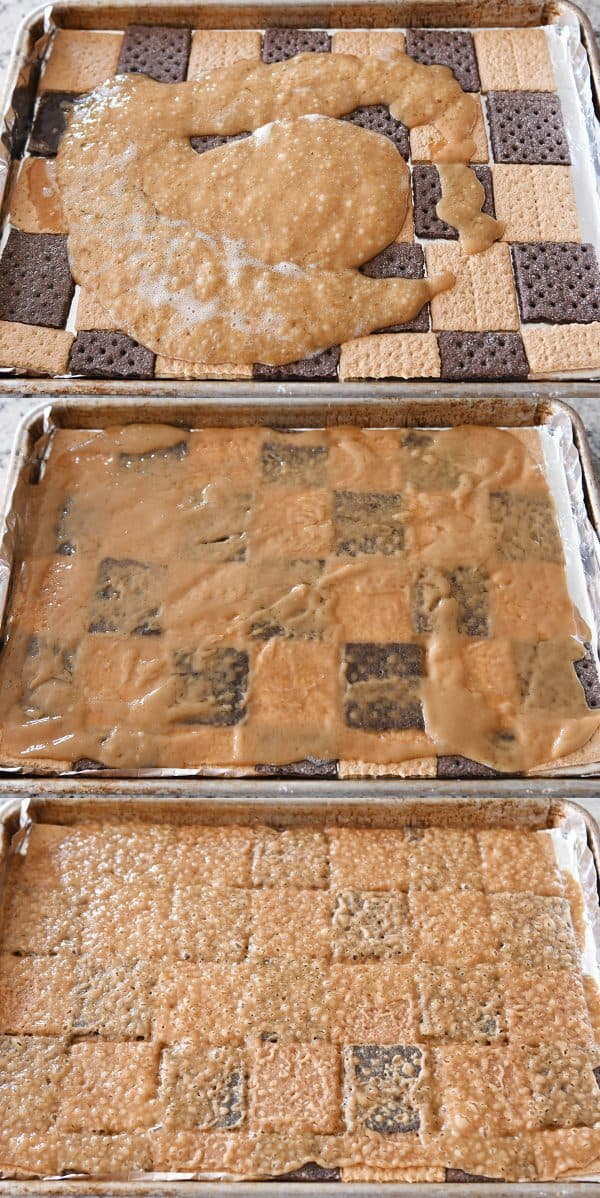 Easy graham cracker toffee with toffee baked and unbaked.