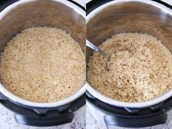 Stirring cooked quinoa in the Instant Pot.