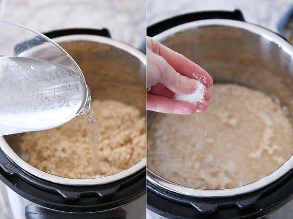 Pouring water and salt into Instant Pot with the quinoa.