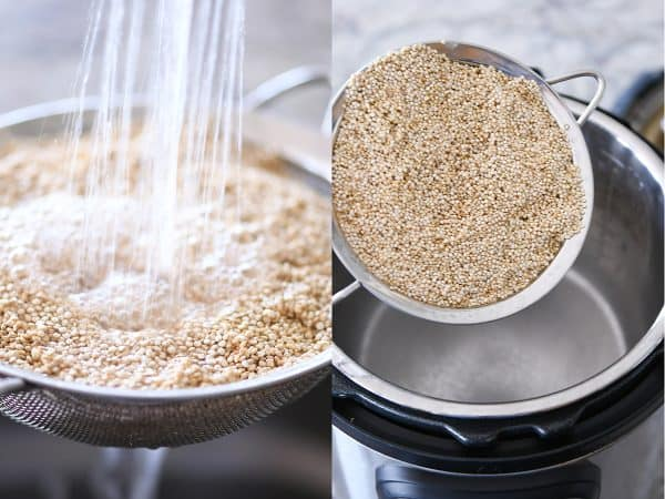 Rinsing quinoa and pouring it in the Instant Pot.