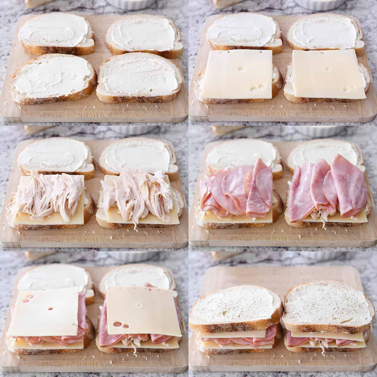 Photo collage of assembling chicken cordon bleu panini with breead, sauce, cheese, chicken, and ham.