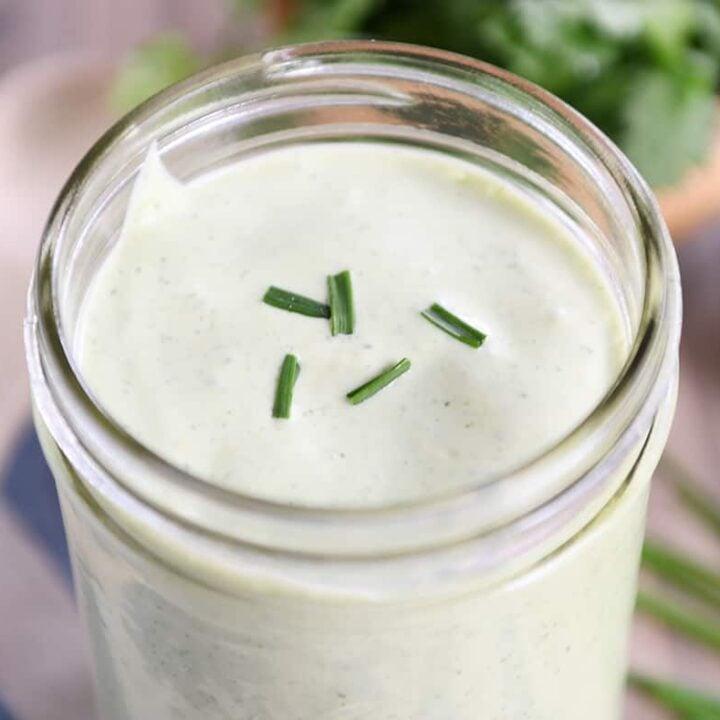 Jar of cilantro lime dressing.