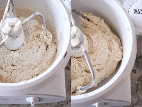 Side by side of cinnamon roll dough mixing in Bosch.