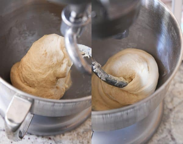 Small batch cinnamon roll recipe dough mixed in Kitchenaid.
