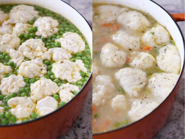 Side by side of uncooked and cooked dumplings.