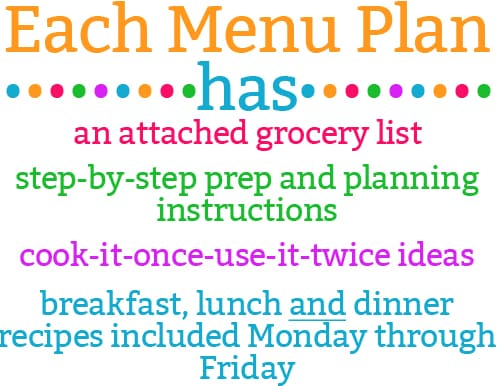 each menu plan list