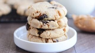 Super Soft Peanut Butter Chocolate Chip Cookies {Egg-Free!}