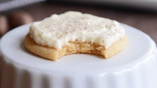 Soft Eggnog Sugar Cookies with Whipped Eggnog Frosting