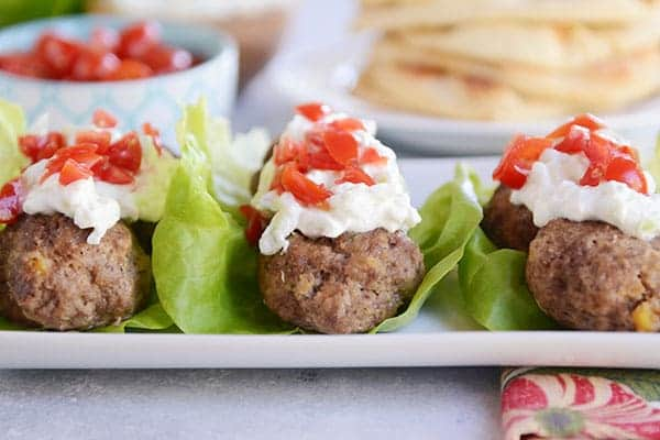 Falafel! Wrapped up in meatball form and smothered in tzatziki sauce. Yum!