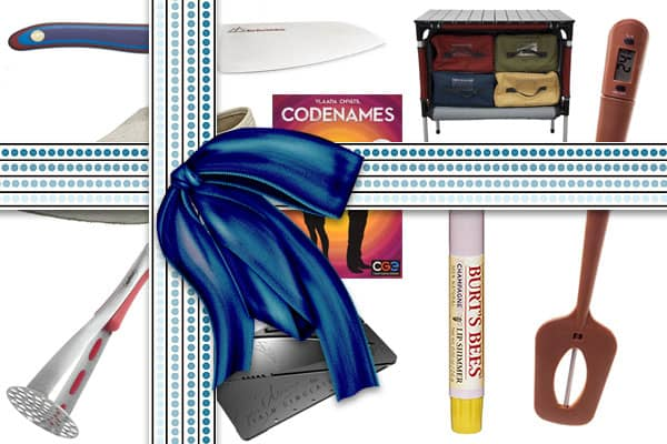 A collage of popular gifts with a big digital bow tied over the top.