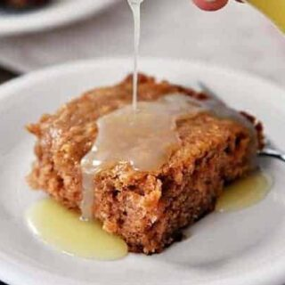 Apple Dapple Cake with Warm Vanilla Cream Sauce