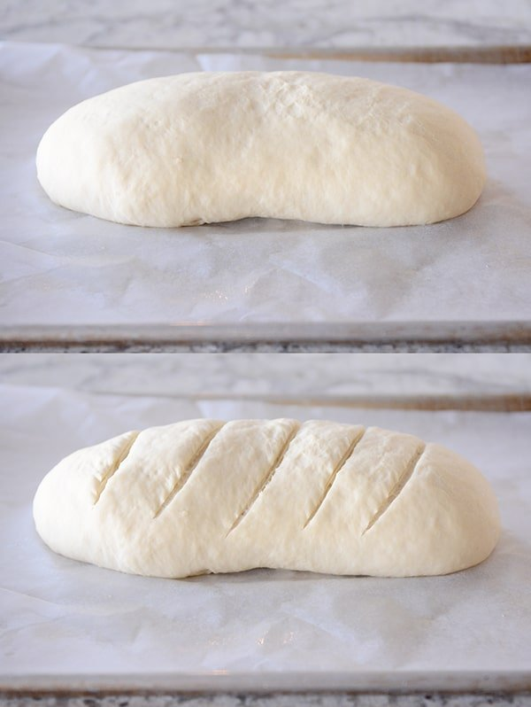 A loaf of french bread with no slashes, and a loaf of bread with 5 slashes on the top of the loaf, ready to go in the oven.
