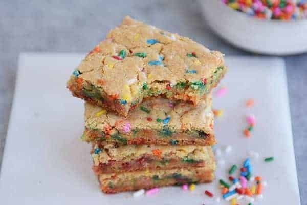 Thin and Chewy Funfetti Blondies {From-Scratch}