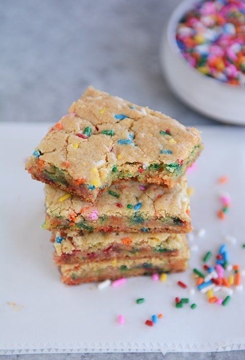 Marvelous Funfetti Blondie Bars From Scratch Mels Kitchen Cafe Funny Birthday Cards Online Fluifree Goldxyz