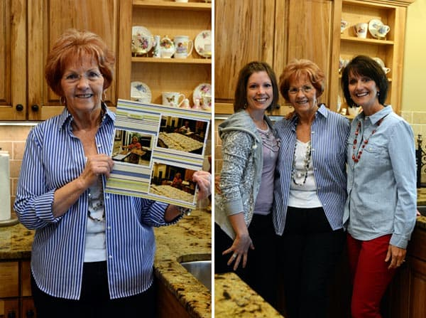 Gloria who is famous for her cinnamon rolls holding up a picture, and Gloria standing next to Mel and Aunt Marilyn.