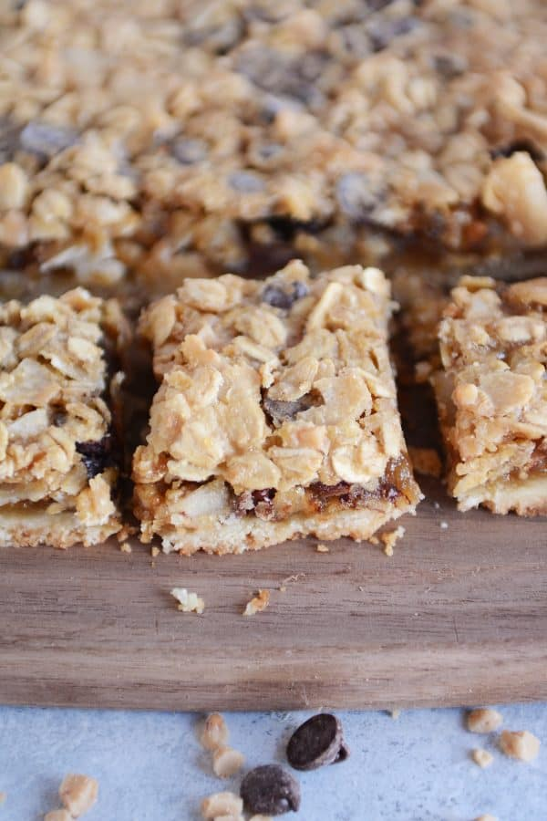 Tray of caramel oat chocolate chunk shortbread bars.