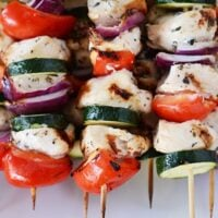 Grilled Greek Chicken Kebabs with Simple Tzatziki Sauce