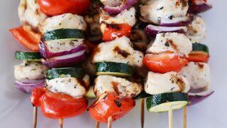 Grilled Greek Chicken Kebabs with Simple Tzatziki Sauce