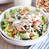 Chopped Greek Chicken Salad with Pita Croutons and Tzatziki Dressing